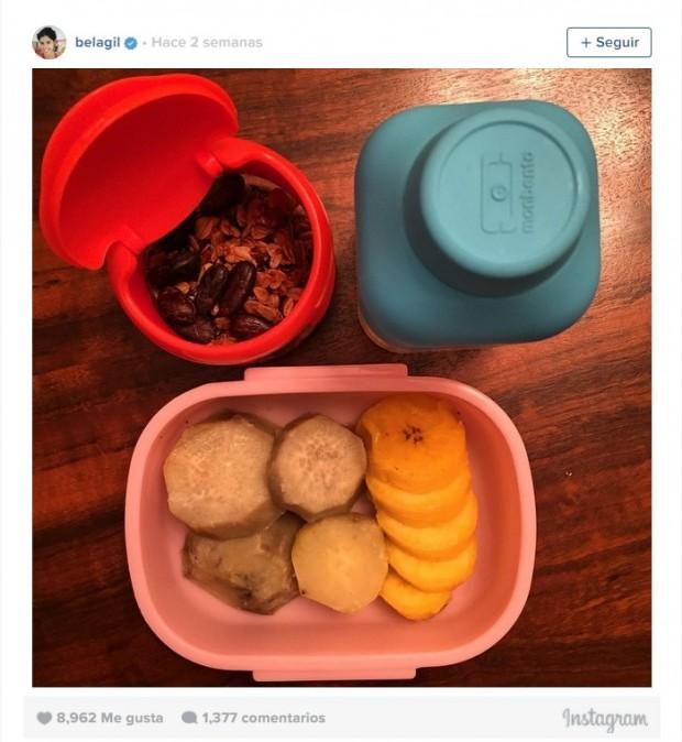 Reprodução do Instagram de Bela Gil. Lancheira com granola caseira, batata-doce, banana-da-terra e água